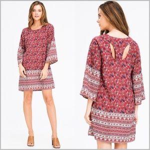 Burgundy Floral Ethnic Print Boho Mini Dress